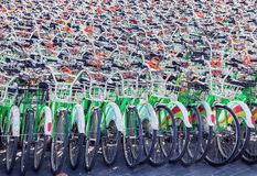 Bicycles for public rent at parking lot in China, Beijing stock image