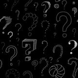 Lots of question marks on blackboard, seamless pattern Royalty Free Stock Images