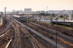 Lots of railway tracks royalty free stock photo