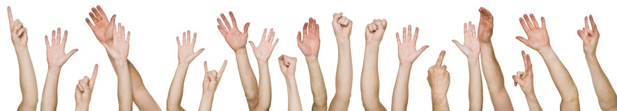 Lots of raised hands Stock Images