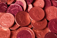 Lots of red British Pound coins Royalty Free Stock Photo