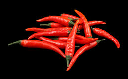 Lots of red chili peppers Stock Photos