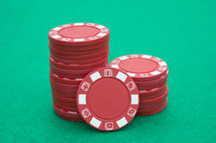 Lots of red poker chips Royalty Free Stock Photo