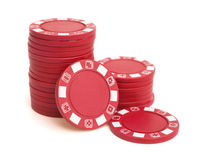 Lots of red poker chips Royalty Free Stock Photography