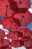 Lots of red umbrella street decoration. Stock Photo
