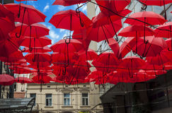 Lots of red umbrellas coloring the sky in the city street Stock Image