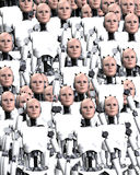 Lots Of Robot Women. A background made out of lots of robot women Stock Photos