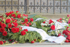Lots of roses on the grave of the murdered prime minister Olof P Royalty Free Stock Image