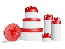 Lots of Round Gift Boxes with Bow Ribbons. The 3D illustration has lots of round gift boxes with red lids and festive bow ribbons. It is ideal for use in Stock Images