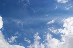 Lots running in the sun clouds in the blue sky immediately after the rain. clouds in the spring sky, all shades of blue. Lots running in the sun clouds in the royalty free stock images