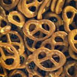 Lots of salted pretzels. Tasty snack. German cuisine stock photography