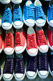 Lots of shoes. On sale Stock Images