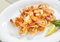 Lots of shrimp on a plate Royalty Free Stock Images