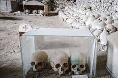 Lots of skulls piled in Fontanelle cemetery. Royalty Free Stock Images
