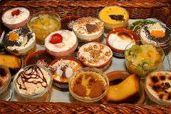 Lots of small desserts. In a wicker basket Royalty Free Stock Photography