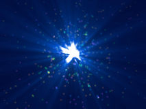 Lots of small particles emission with blue rays Stock Images