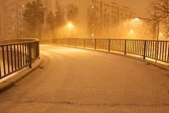 Lots of snowfall and empty walkway Stock Image