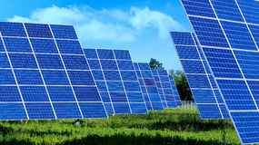 Lots of Solar Panels with blues sky ,outdoor Stock Images