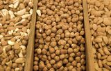 Lots of sorted various nuts Royalty Free Stock Photos