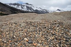 Lots of Stones. Glacier moraine left after a disappearing glacier Royalty Free Stock Photos