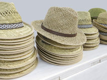 Lots of straw hats Stock Photo