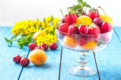 Lots of strawberries, cherries and apricots in a vintage glass v Stock Photos