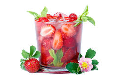 Lots of strawberries in two glass bowls over white. Stock Photos
