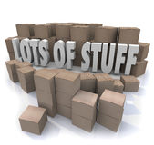Lots of Stuff Cardboard Boxes Messy Disorganized Storage Stockpi. Lots of Stuff words in illustrated 3d letters surrounded by piles and stacks of cardboard boxes Stock Image