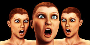Lots Of Surprise. An conceptual image of three women with a look of surprise and horror on their faces Stock Image