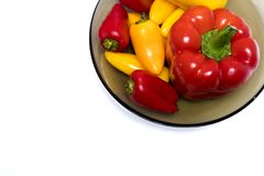 Lots of sweet bulgarian peppers. Quality photo of fresh peppers served on some snow white surface in a bowl made of smoked transparent glass. There`re lots of Royalty Free Stock Image
