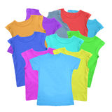 Lots of T-shirts colorful isolated on white Royalty Free Stock Images