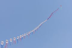 Lots of Taegeukgi patterned kites Royalty Free Stock Photo