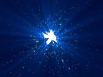 Lots Teilchenemission mit blauen Strahlen Stockbilder