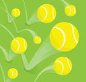 Lots of tennis balls bouncing Stock Images