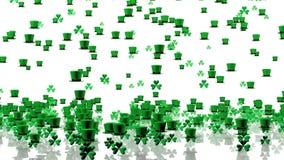 Lots of Tiny Green Clovers and Irish Hats Raining stock video
