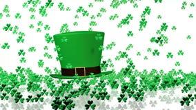 Lots of Tiny Green Clovers Raining on a big Irish Hat stock footage