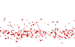 Lots of Tiny Red Hearts in Down with a Defocus Effect. With a white background Stock Photo
