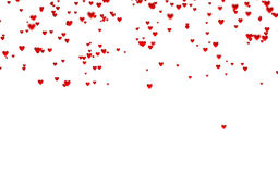 Lots of Tiny Red Hearts In Up with a Defocus Effect. With a white background Royalty Free Stock Photos