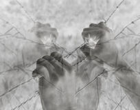 Lots of tortured hands grasping desperately barbed wire on black. And white background Royalty Free Stock Photos