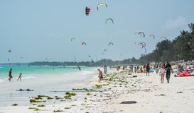 Kitesurfing is very popular at Zanzibar. Tanzania royalty free stock photo