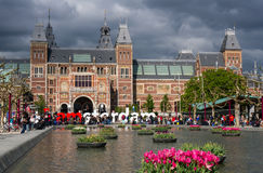 Lots of turist at the 'I amsterdam' big letters Royalty Free Stock Photos