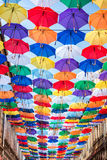 Lots of umbrellas coloring the sky Stock Images