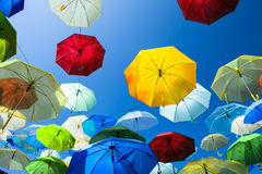 Lots of umbrellas coloring the sky in the city of Pai Royalty Free Stock Images