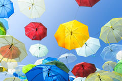 Lots of umbrellas coloring the sky in the city of Pai Stock Images