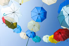 Lots of umbrellas coloring the sky in the city of Pai. Thailand Stock Photography