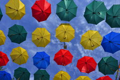 Lots of umbrellas coloring the sky. In the Saint Petersburg Russia Royalty Free Stock Photo