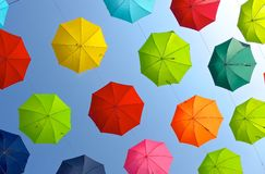 Lots of umbrellas for decoration Stock Photos