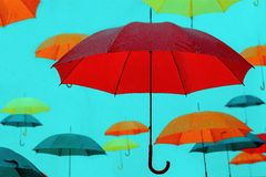 Lots of umbrellas in the rain. The lots of umbrellas in the rain Stock Photography