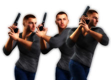 Lots Of Undercover Cops. 3 undercover cops holding guns in action poses Royalty Free Stock Photos