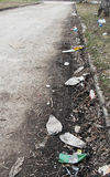 Lots of various garbage on the street Royalty Free Stock Photography
